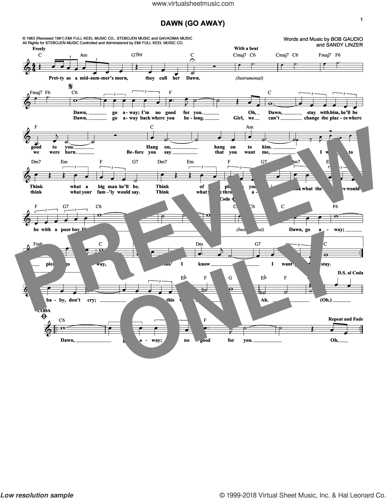 Dawn (Go Away) sheet music for voice and other instruments (fake book) by The Four Seasons and Sandy Linzer, intermediate voice. Score Image Preview.