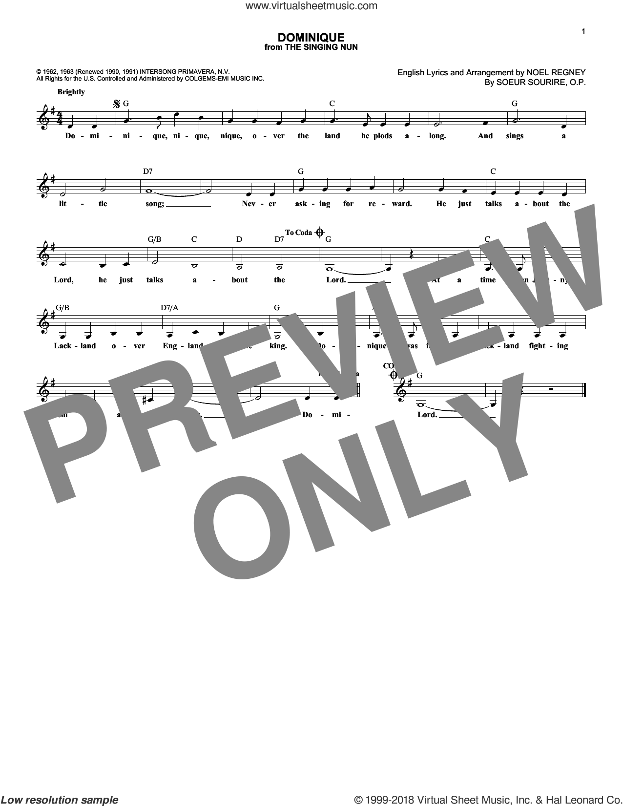Dominique sheet music for voice and other instruments (fake book) by The Singing Nun, Noel Regney and Soeur Sourire, O.P., intermediate skill level