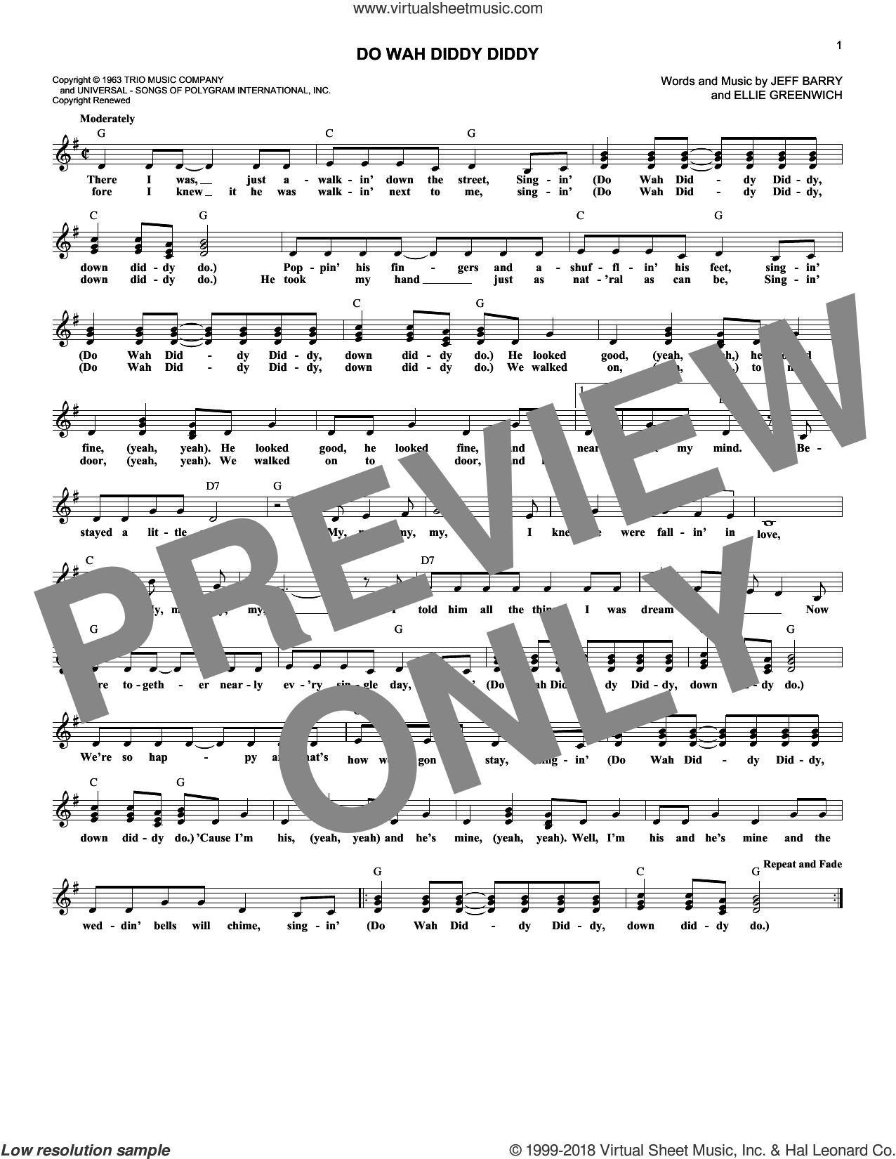 Do Wah Diddy Diddy sheet music for voice and other instruments (fake book) by Jeff Barry, Manfred Mann and Ellie Greenwich. Score Image Preview.