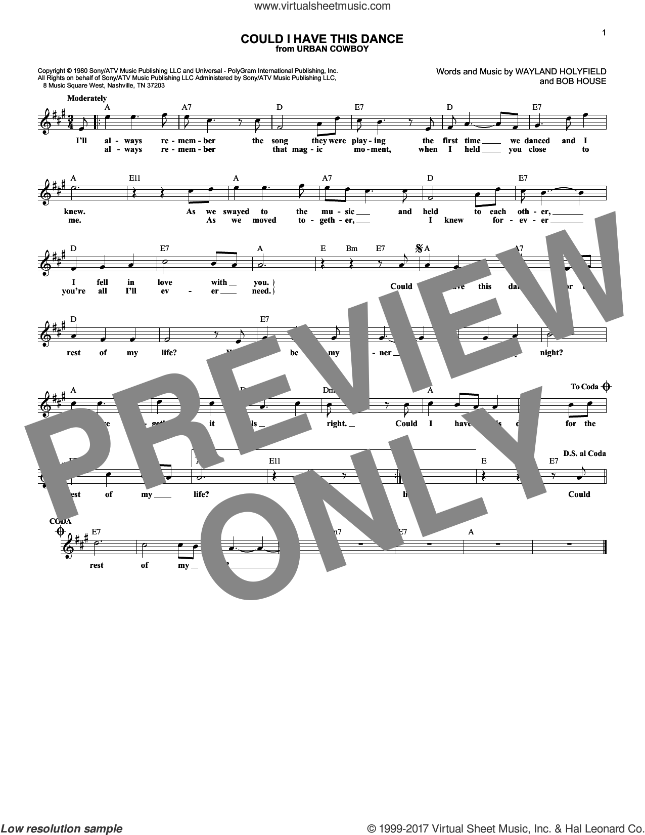 Could I Have This Dance sheet music for voice and other instruments (fake book) by Anne Murray, Bob House and Wayland Holyfield, intermediate. Score Image Preview.