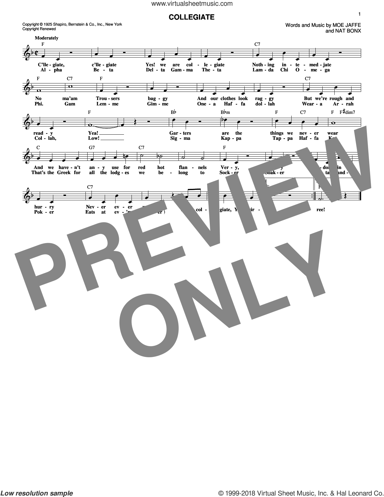 Collegiate sheet music for voice and other instruments (fake book) by Fred Waring's Pennsylvanians and Moe Jaffe. Score Image Preview.