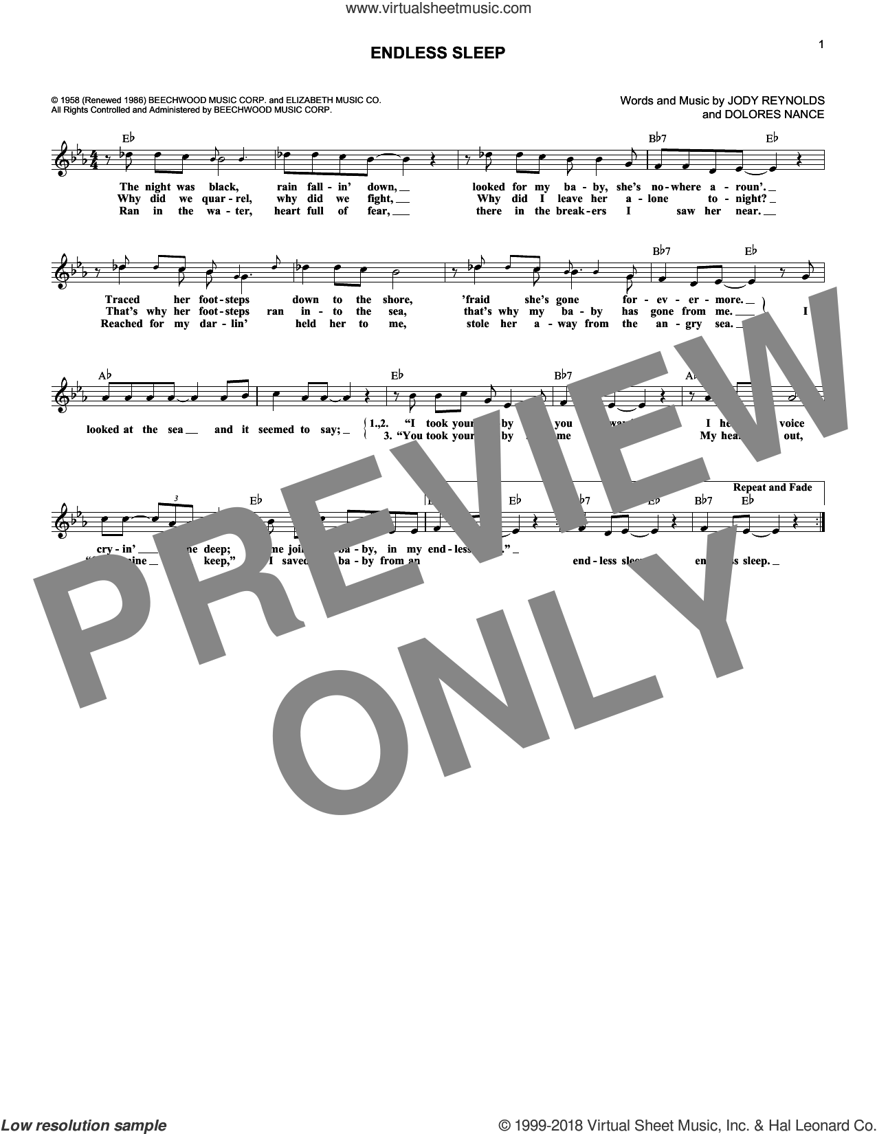 Endless Sleep sheet music for voice and other instruments (fake book) by Jody Reynolds. Score Image Preview.