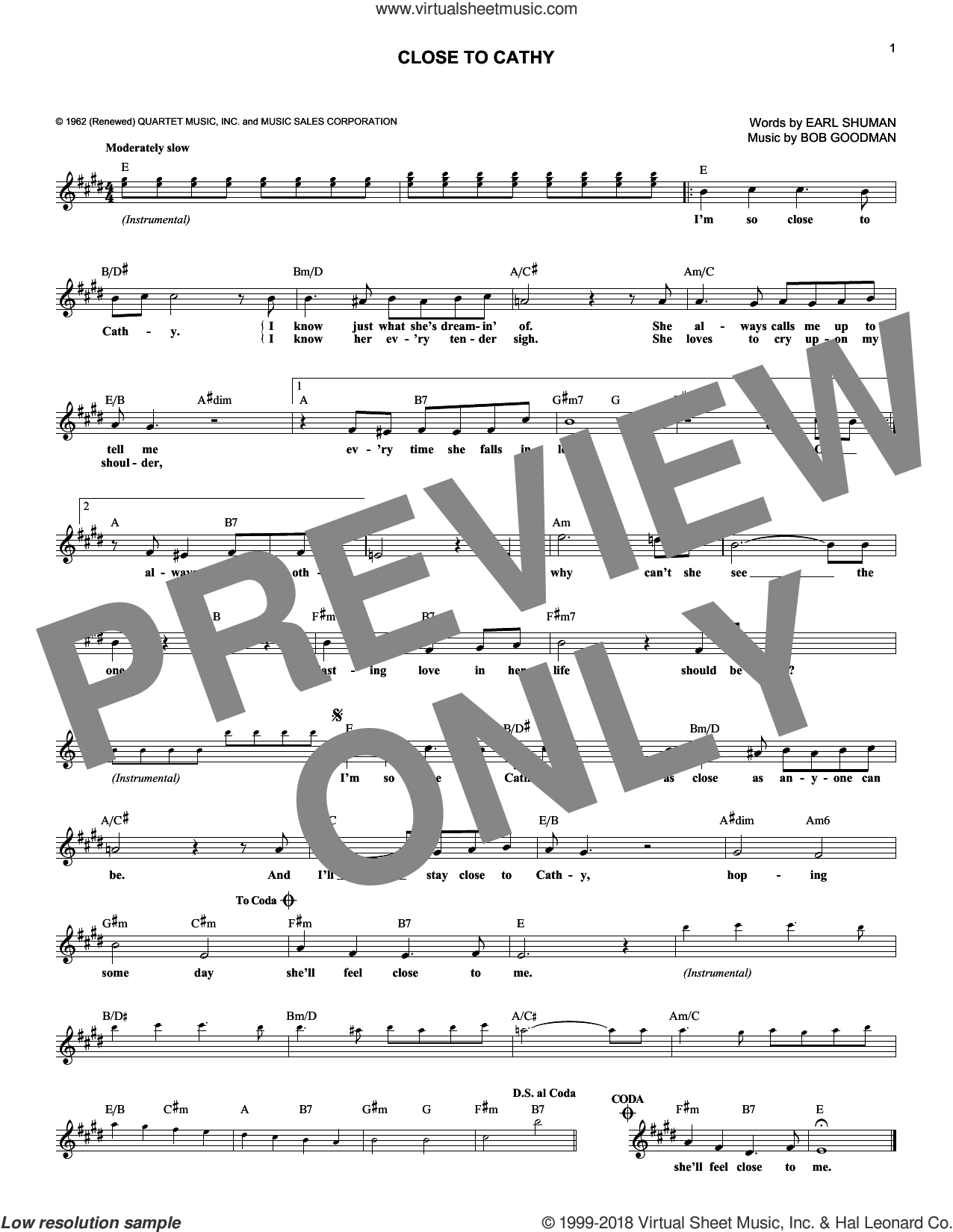 Close To Cathy sheet music for voice and other instruments (fake book) by Mike Clifford, Earl Shuman and Robert Goodman, intermediate. Score Image Preview.