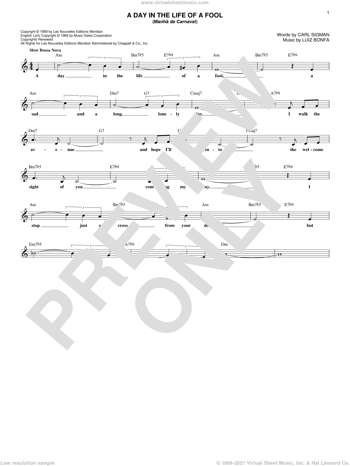 A Day In The Life Of A Fool (Manha De Carnaval) sheet music for voice and other instruments (fake book) by Luiz Bonfa and Carl Sigman, intermediate skill level