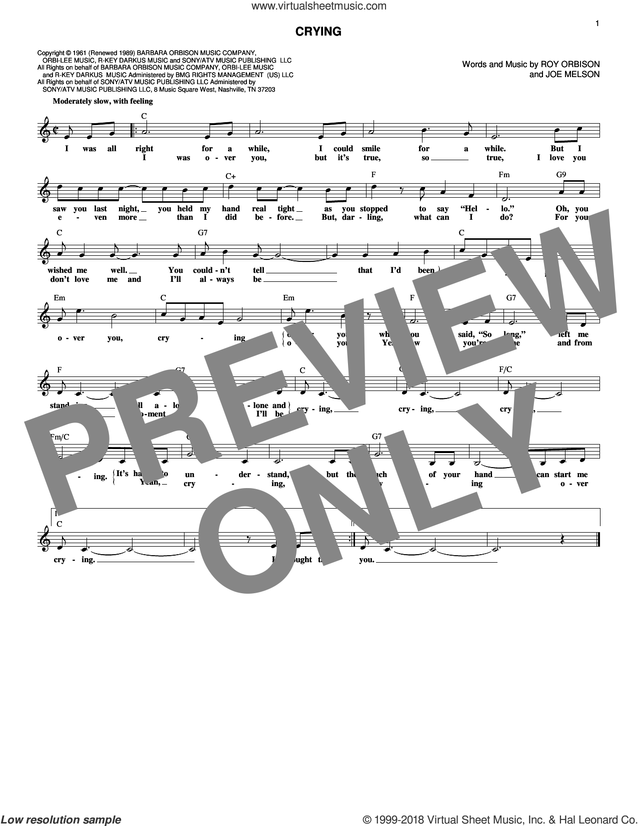 Crying sheet music for voice and other instruments (fake book) by Roy Orbison, Don McLean, Jay & The Americans and Joe Melson, intermediate skill level