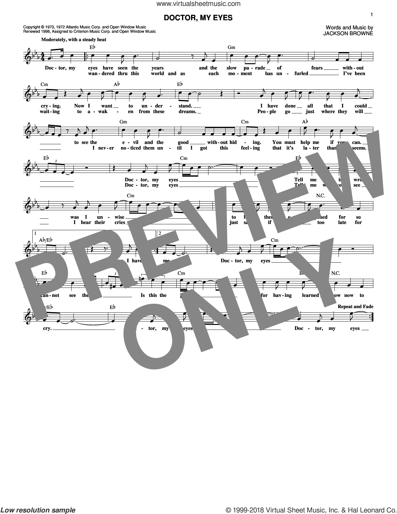 Doctor, My Eyes sheet music for voice and other instruments (fake book) by Jackson Browne, intermediate skill level
