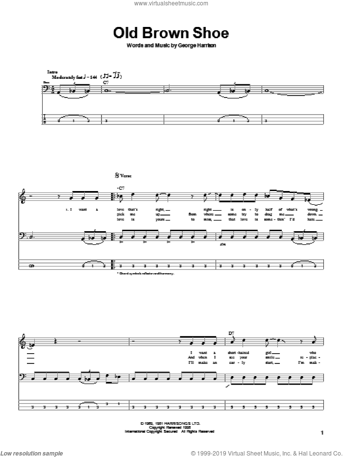Old Brown Shoe sheet music for bass (tablature) (bass guitar) by The Beatles and George Harrison, intermediate skill level