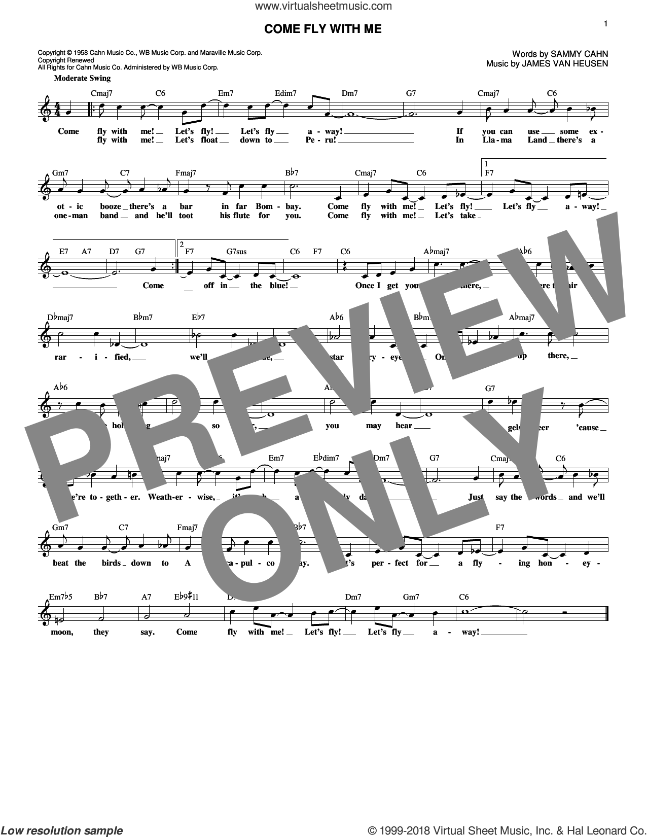 Come Fly With Me sheet music for voice and other instruments (fake book) by Sammy Cahn and Jimmy van Heusen, wedding score, intermediate skill level