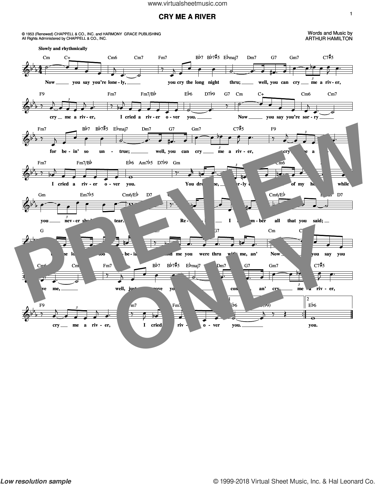 Cry Me A River sheet music for voice and other instruments (fake book) by Arthur Hamilton, Janice Harper, Joe Cocker and Julie London, intermediate. Score Image Preview.