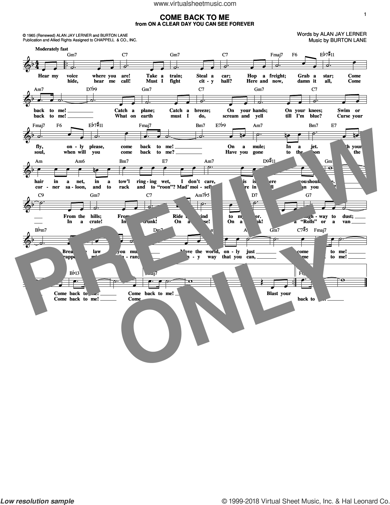 Come Back To Me sheet music for voice and other instruments (fake book) by Alan Jay Lerner, Shirley Horn and Burton Lane, intermediate skill level
