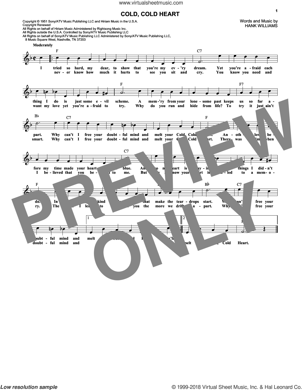 Cold, Cold Heart sheet music for voice and other instruments (fake book) by Hank Williams, intermediate voice. Score Image Preview.