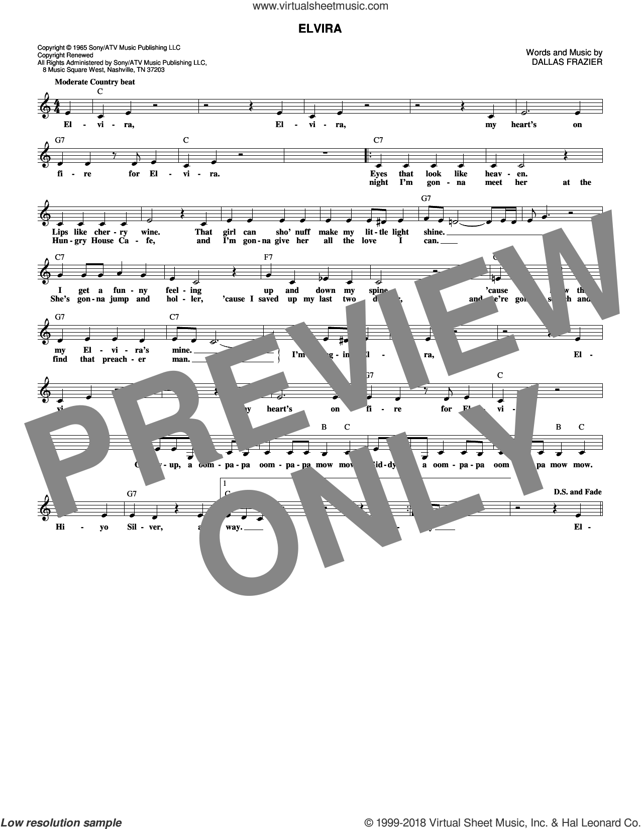 Elvira sheet music for voice and other instruments (fake book) by Dallas Frazier and Oak Ridge Boys. Score Image Preview.