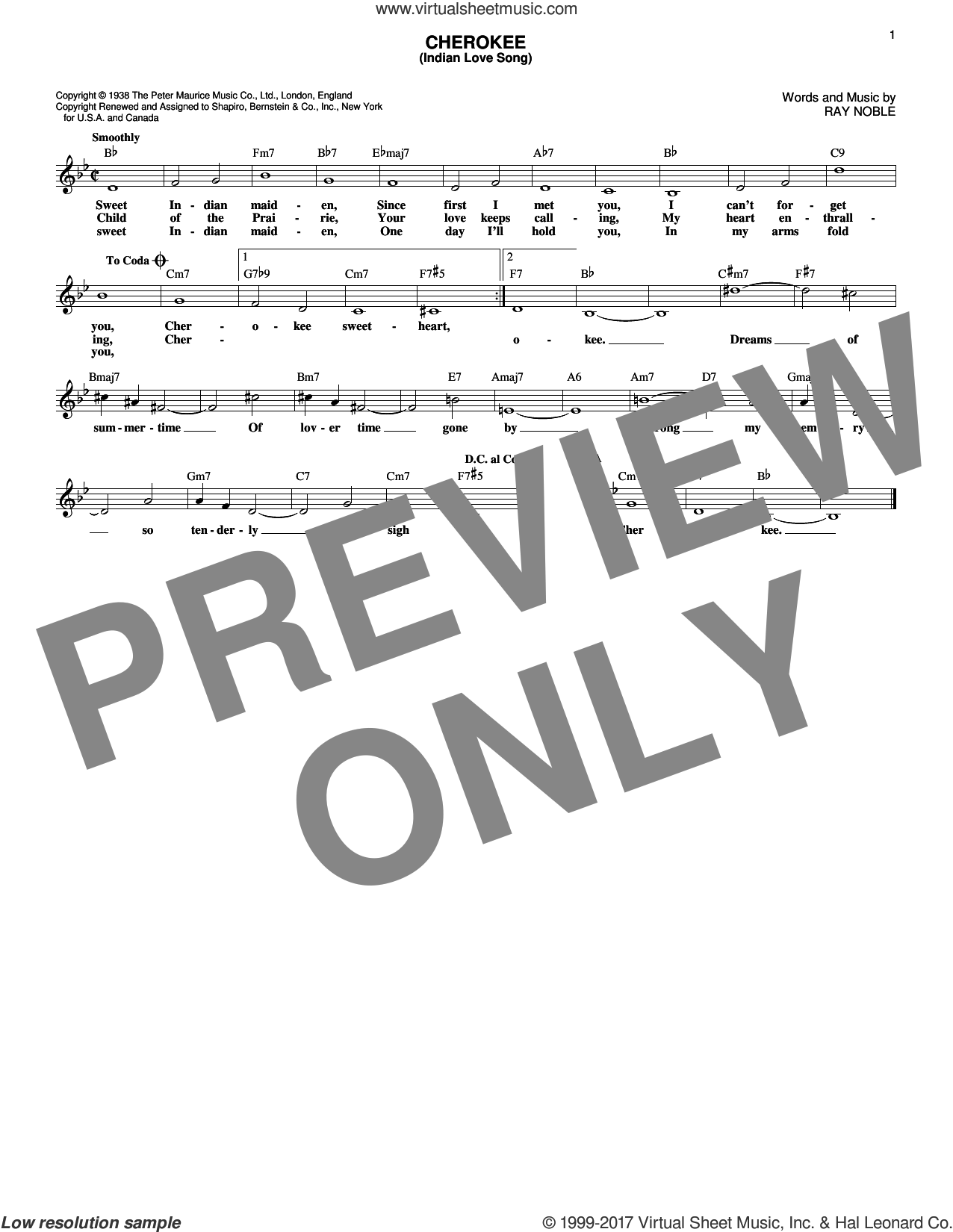 Cherokee (Indian Love Song) sheet music for voice and other instruments (fake book) by Ray Noble, Benny Goodman Sextet and Ray Noble And His Orchestra. Score Image Preview.