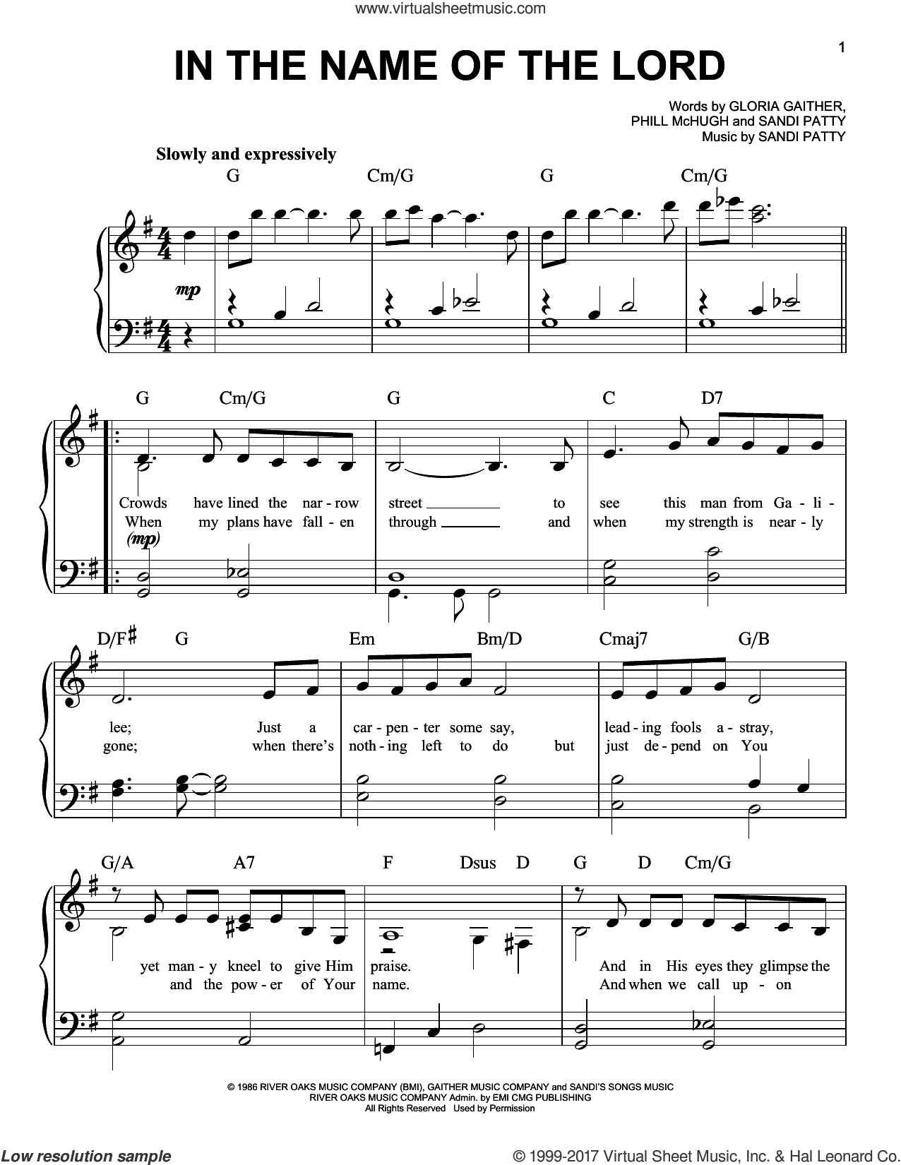 In The Name Of The Lord sheet music for piano solo by Sandi Patty, Gloria Gaither and Phill McHugh, easy skill level