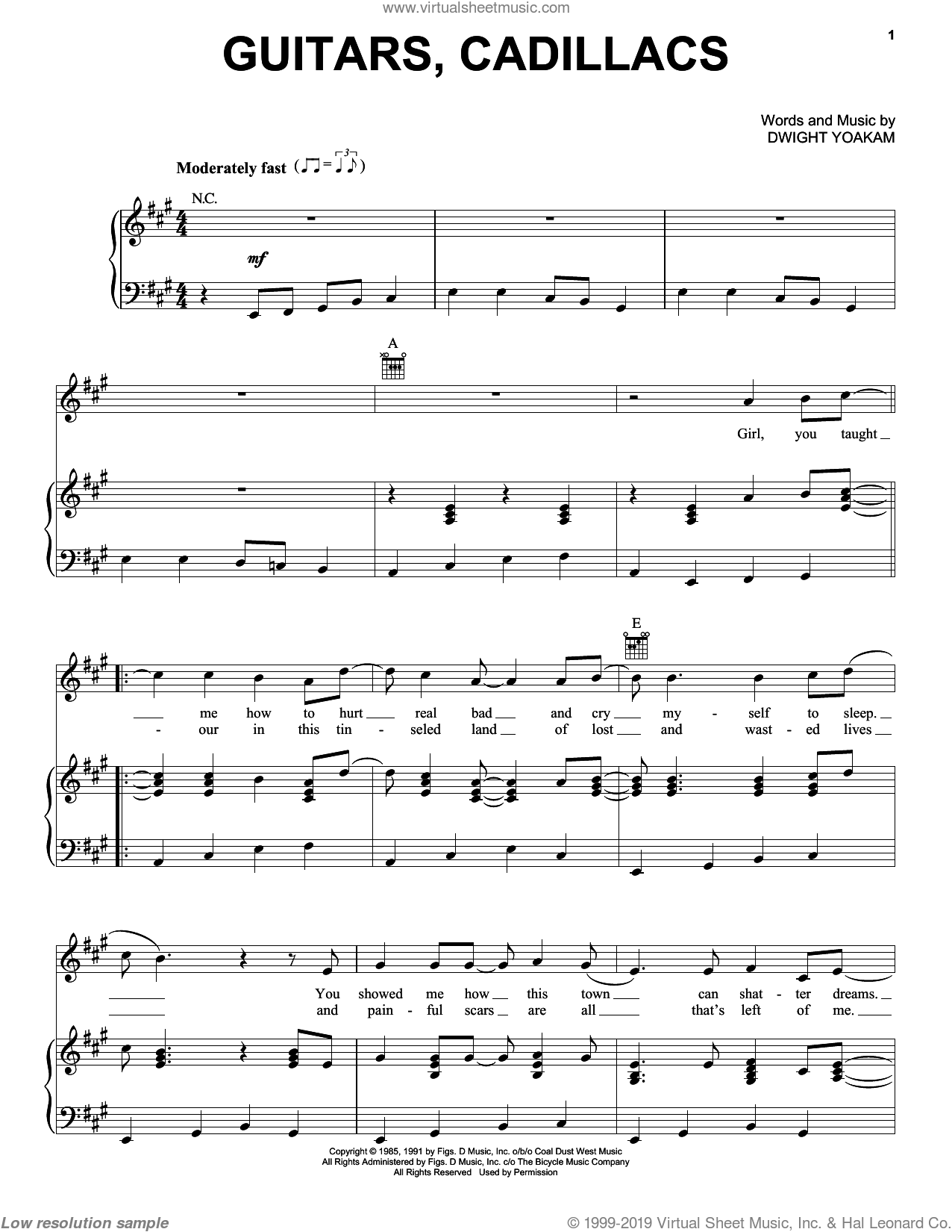 Guitars, Cadillacs sheet music for voice, piano or guitar by Dwight Yoakam, intermediate