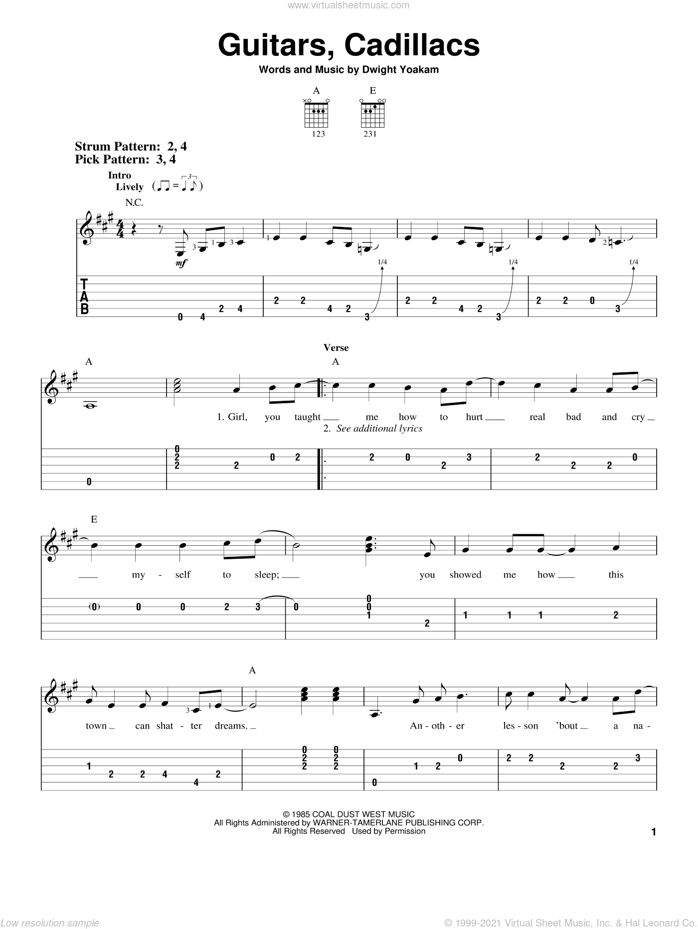 Guitars, Cadillacs sheet music for guitar solo (easy tablature) by Dwight Yoakam. Score Image Preview.