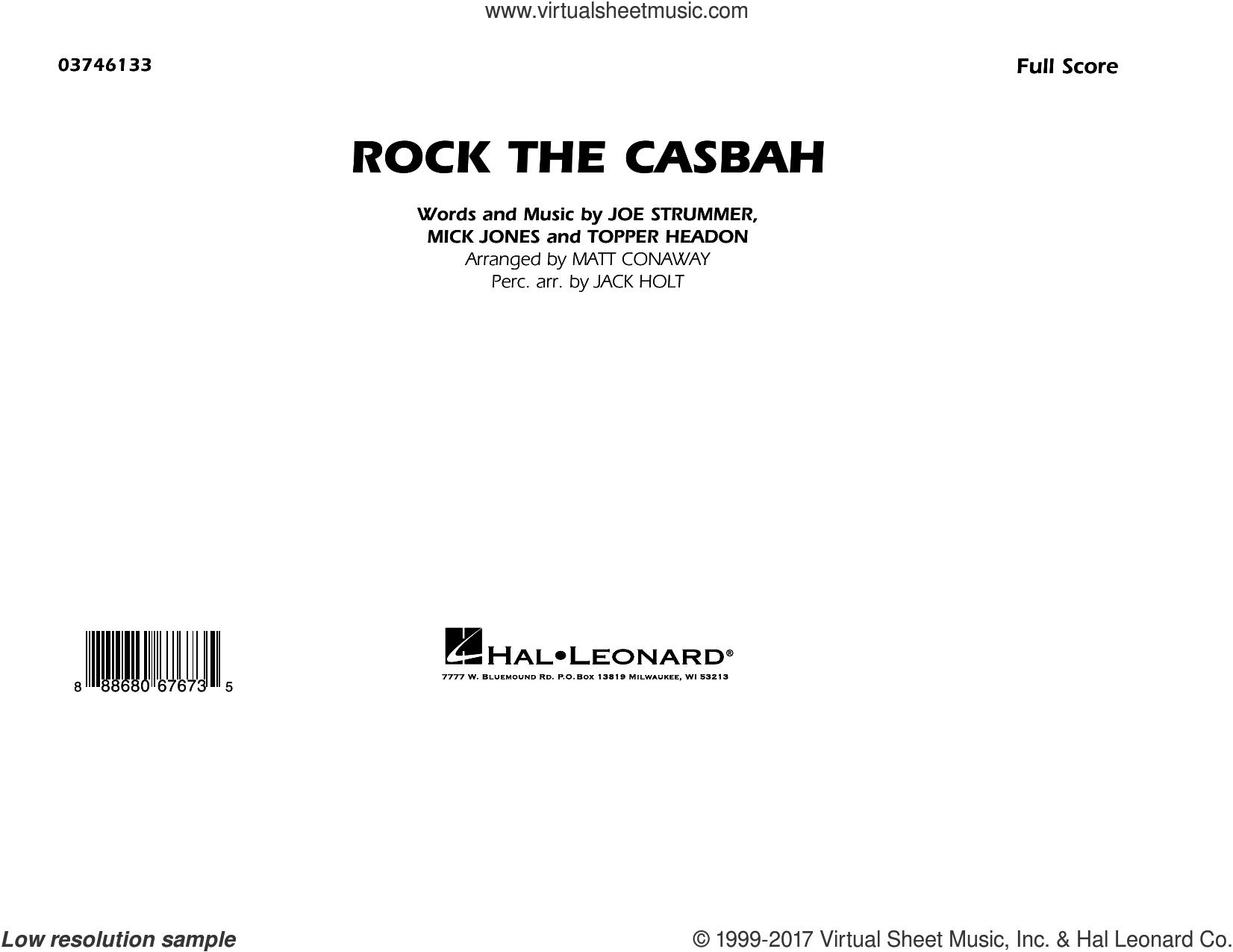 Rock the Casbah (COMPLETE) sheet music for marching band by The Clash, Jack Holt, Joe Strummer, Matt Conaway, Mick Jones and Topper Headon, intermediate skill level
