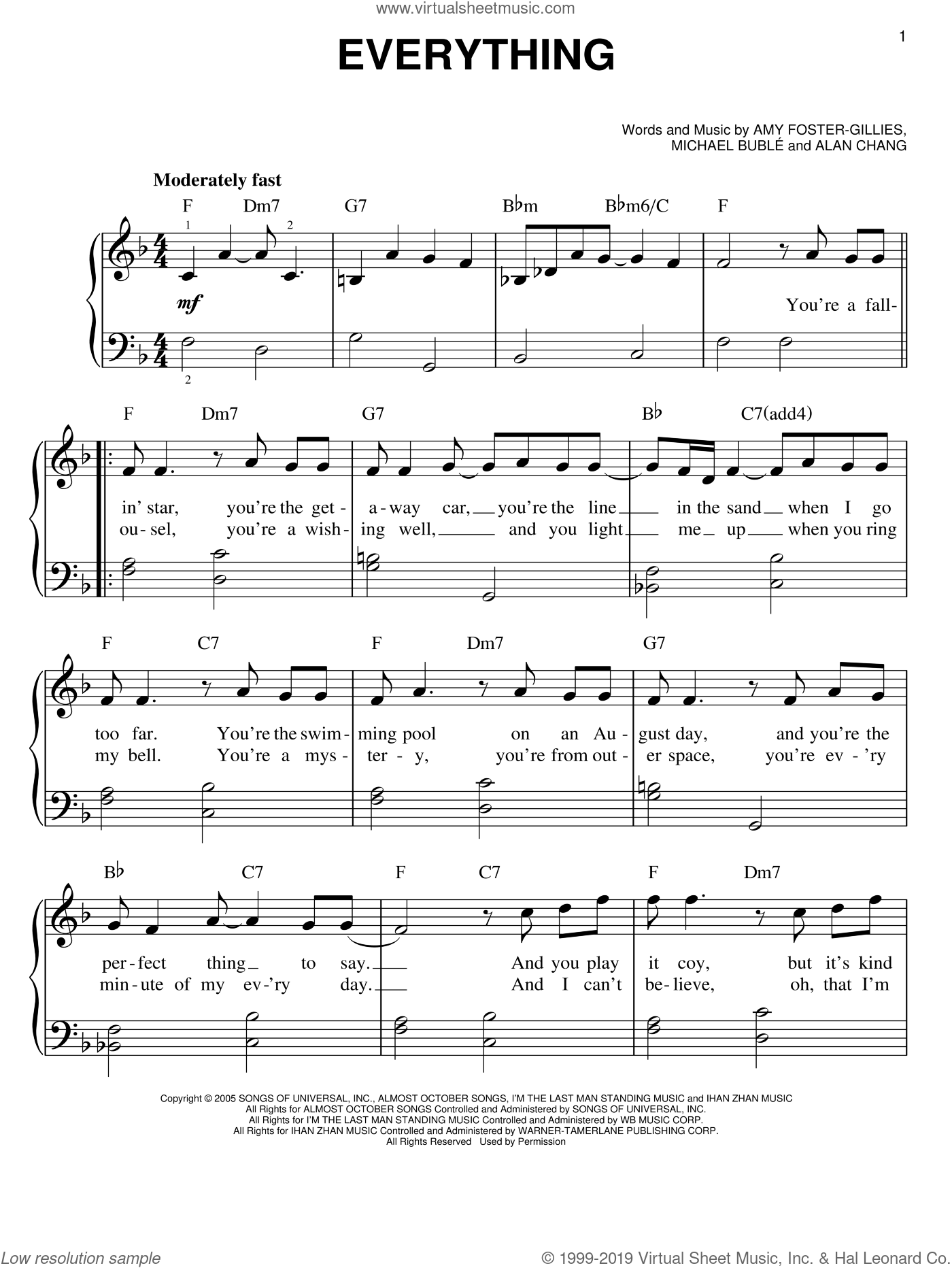 Everything sheet music for piano solo by Michael Buble, Alan Chang and Amy Foster-Gillies, easy skill level