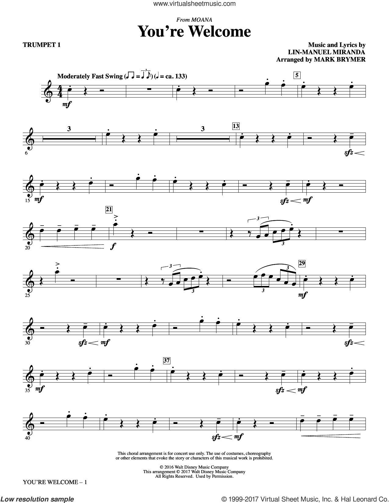You're Welcome (complete set of parts) sheet music for orchestra/band by Mark Brymer and Lin-Manuel Miranda, intermediate orchestra/band. Score Image Preview.