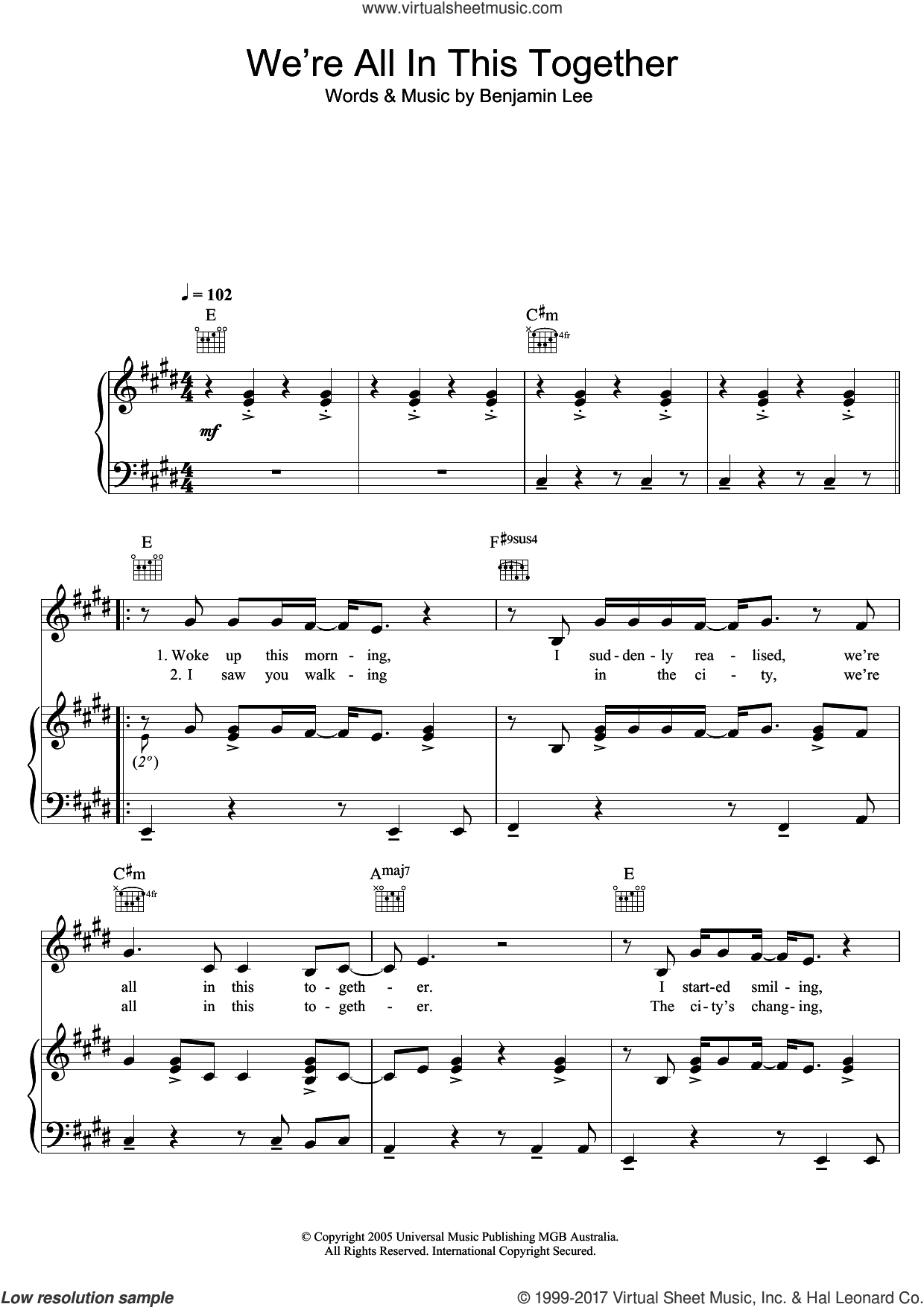 We're All In This Together sheet music for voice, piano or guitar by Ben Lee and Benjamin Lee, intermediate
