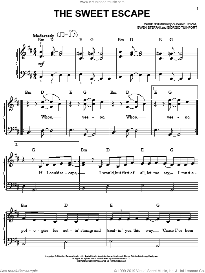 The Sweet Escape sheet music for piano solo by Gwen Stefani featuring Akon, Akon, Giorgio Tuinfort and Gwen Stefani, easy piano. Score Image Preview.