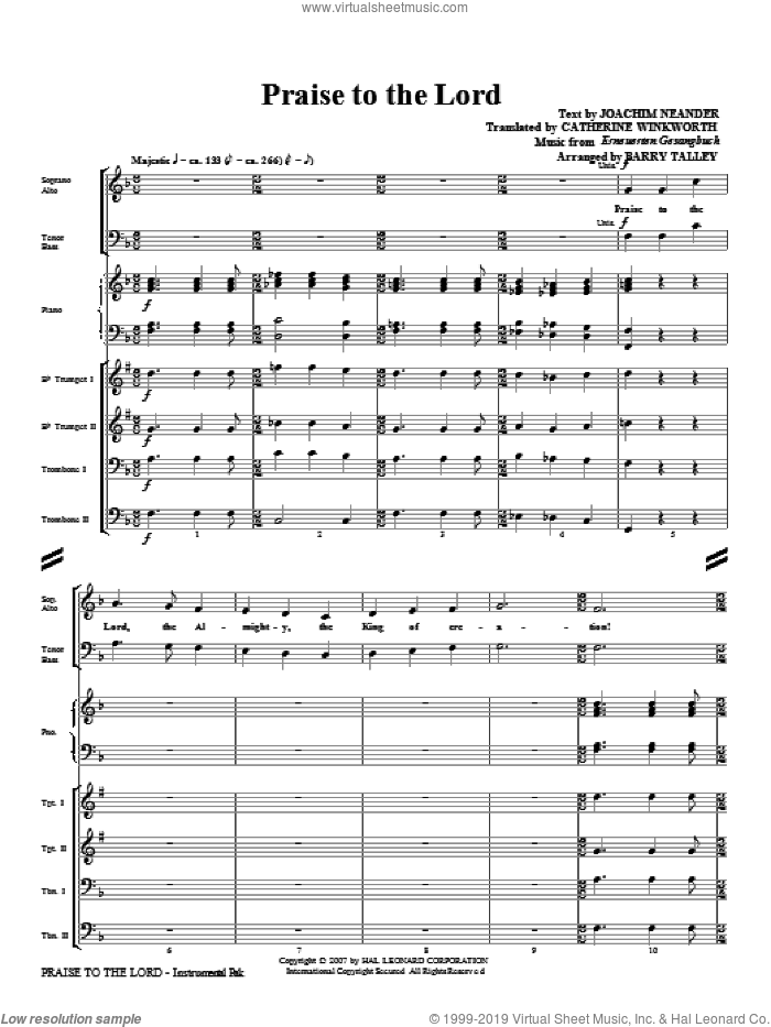 Praise To The Lord sheet music for orchestra/band (Brass) by Barry Talley
