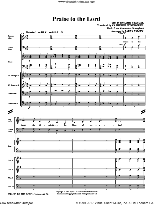 Praise To The Lord (COMPLETE) sheet music for orchestra by Barry Talley