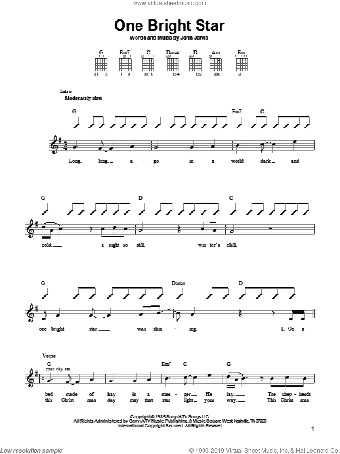 One Bright Star sheet music for guitar solo (chords) by John Jarvis, Christmas carol score, easy guitar (chords). Score Image Preview.
