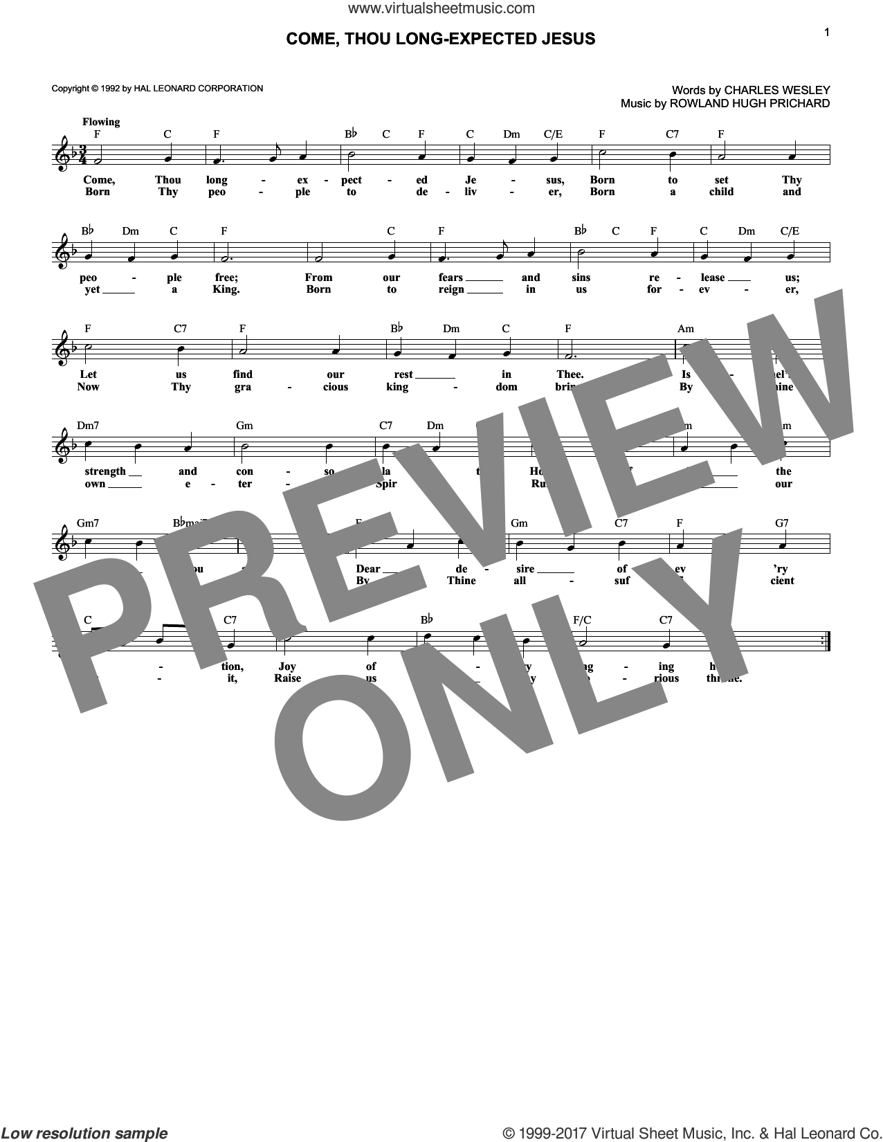 Come, Thou Long-Expected Jesus sheet music for voice and other instruments (fake book) by Rowland Prichard and Charles Wesley. Score Image Preview.