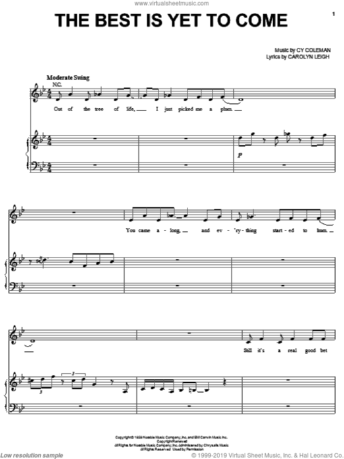 The Best Is Yet To Come sheet music for voice and piano by Carolyn Leigh