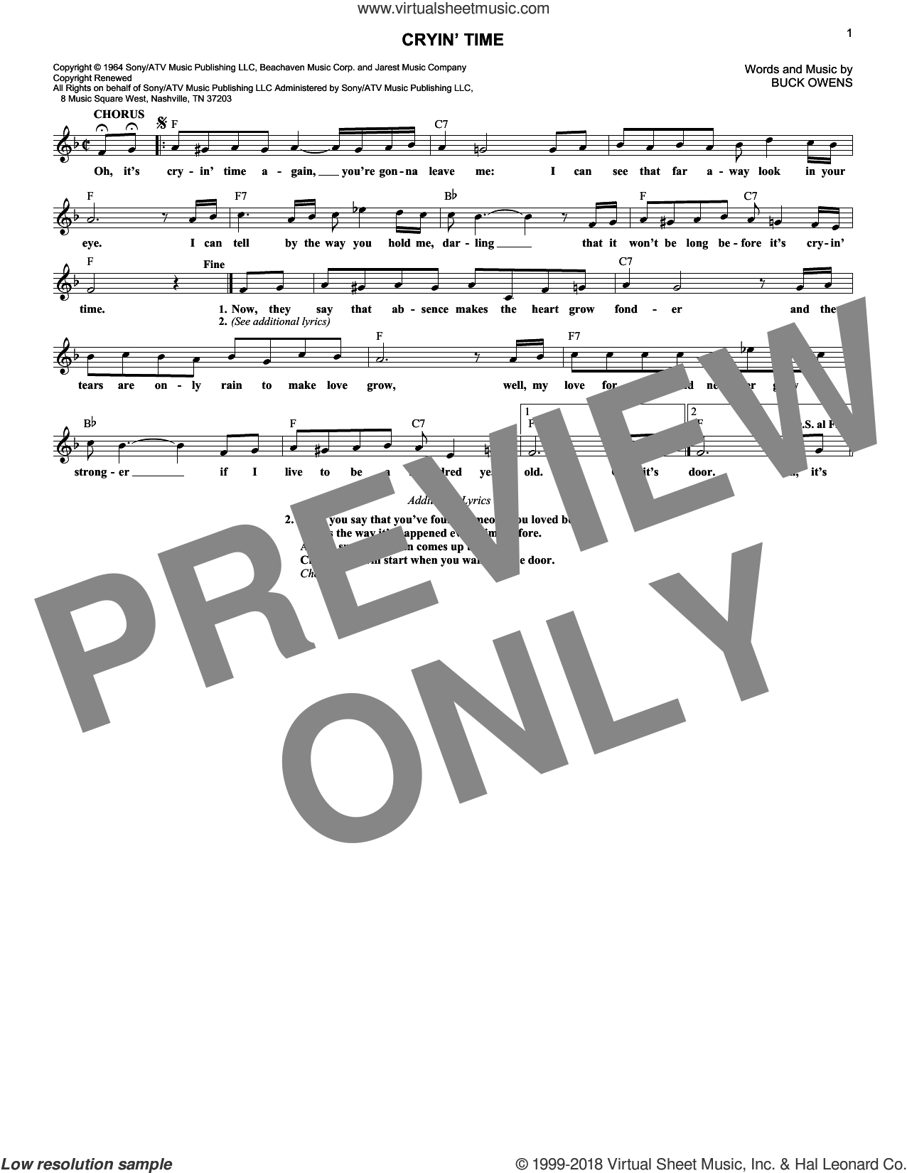 Cryin' Time sheet music for voice and other instruments (fake book) by Buck Owens and Ray Charles, intermediate. Score Image Preview.