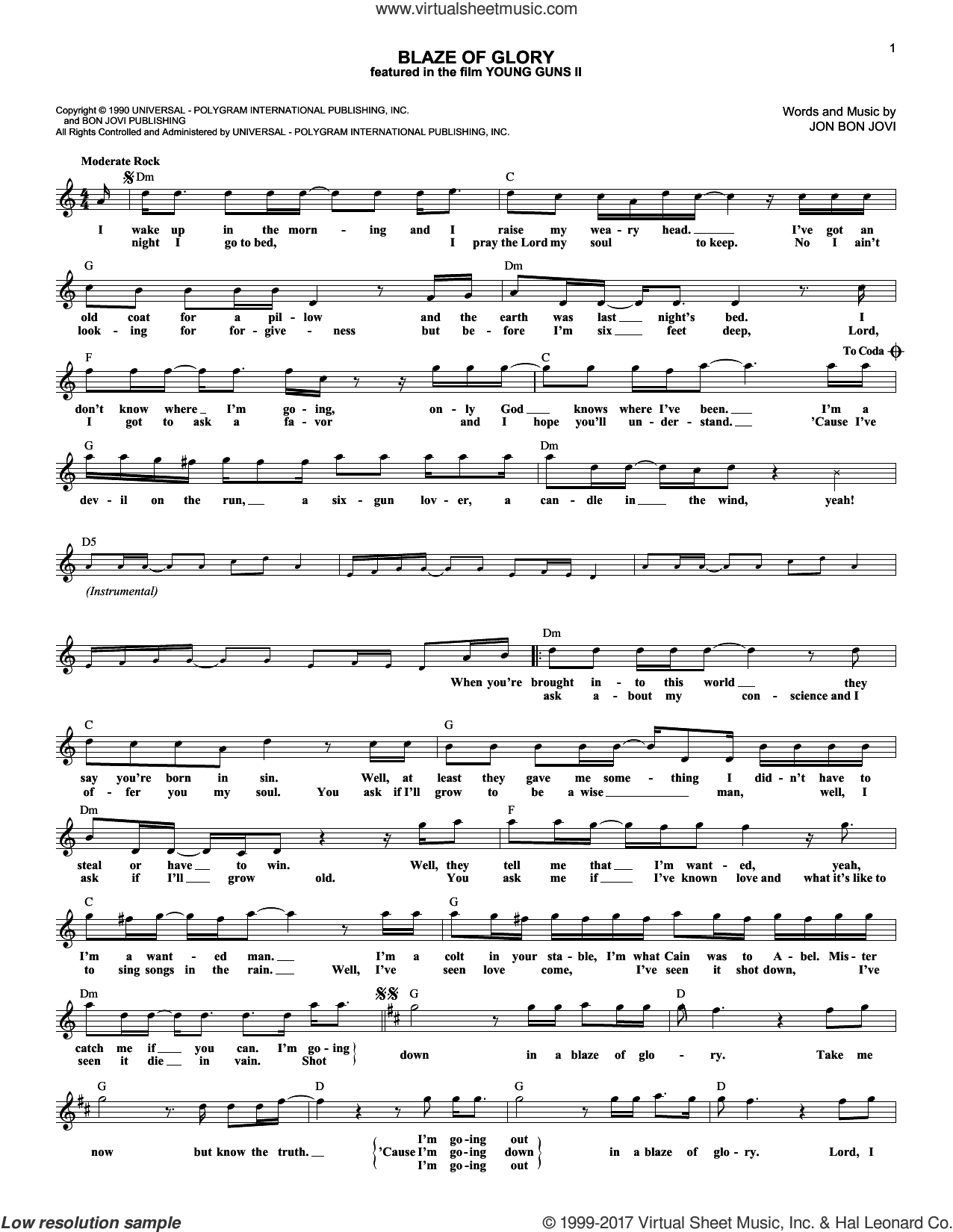 Blaze Of Glory sheet music for voice and other instruments (fake book) by Bon Jovi, intermediate. Score Image Preview.
