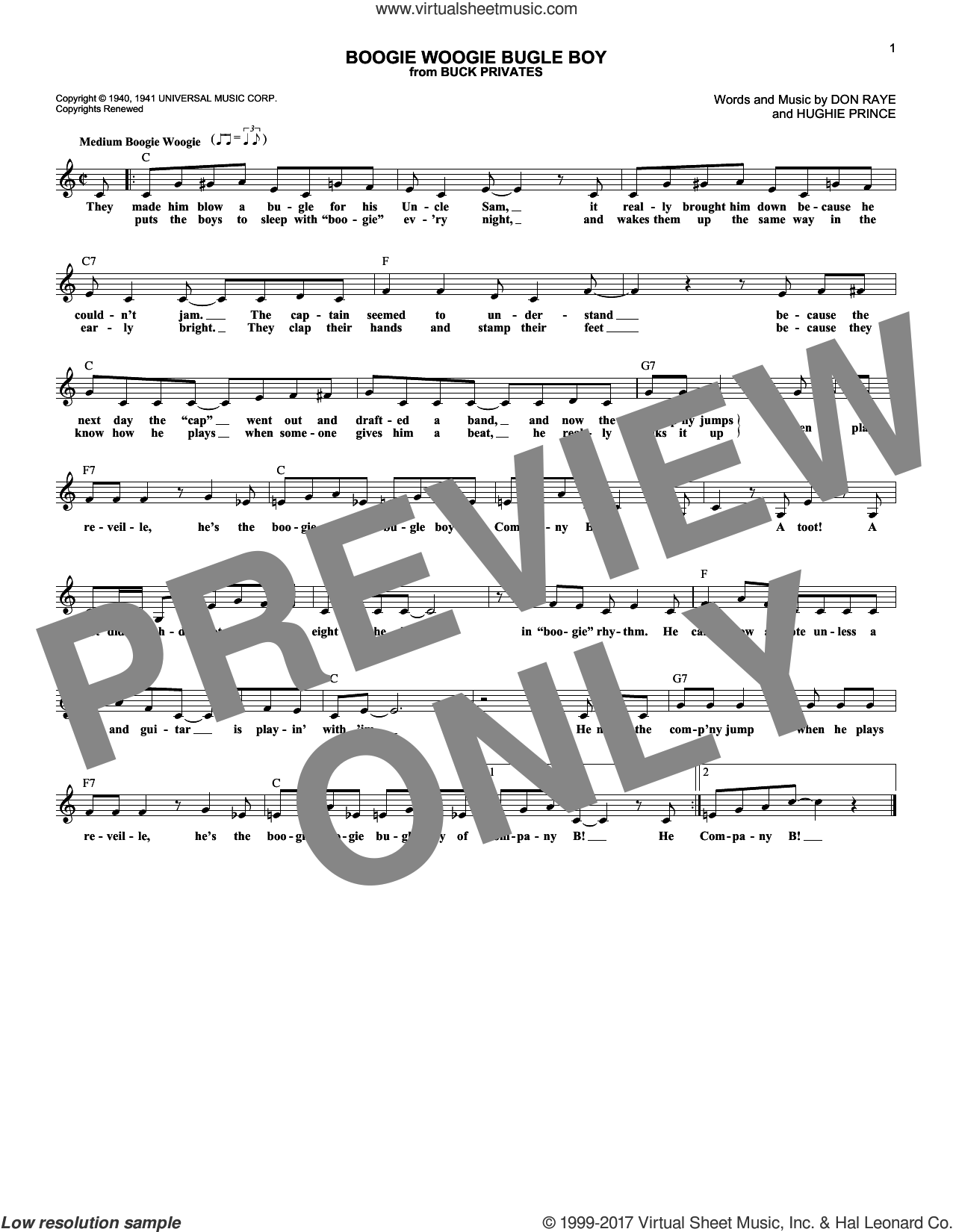 Boogie Woogie Bugle Boy sheet music for voice and other instruments (fake book) by Andrews Sisters, Bette Midler, Don Raye and Hughie Prince, intermediate skill level