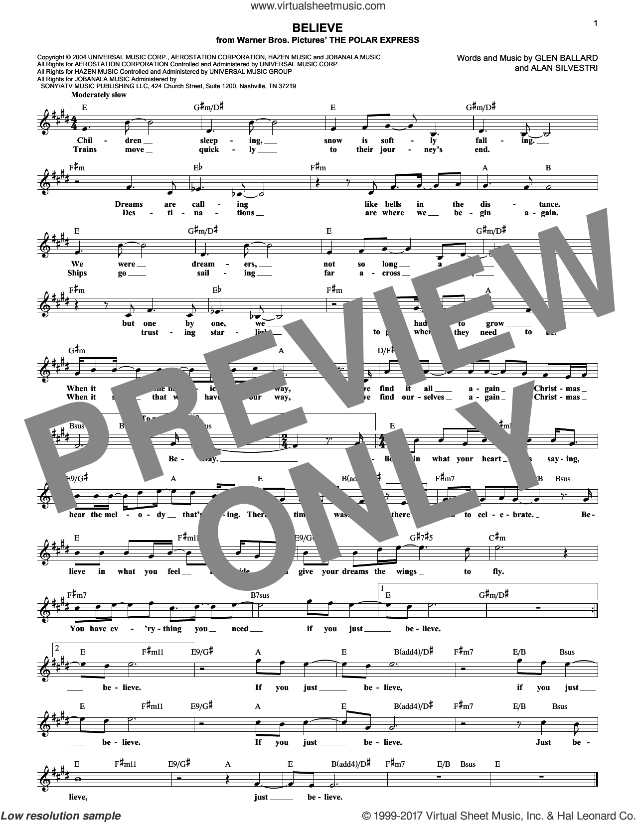 Believe sheet music for voice and other instruments (fake book) by Josh Groban, Alan Silvestri and Glen Ballard, intermediate skill level