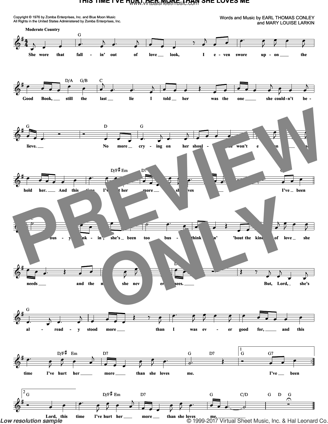 This Time I've Hurt Her More Than She Loves Me sheet music for voice and other instruments (fake book) by Mary Louise Larkin and Conway Twitty. Score Image Preview.