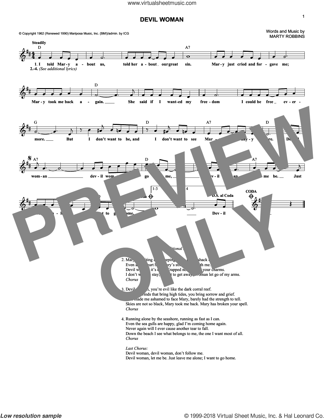 Devil Woman sheet music for voice and other instruments (fake book) by Marty Robbins, intermediate skill level