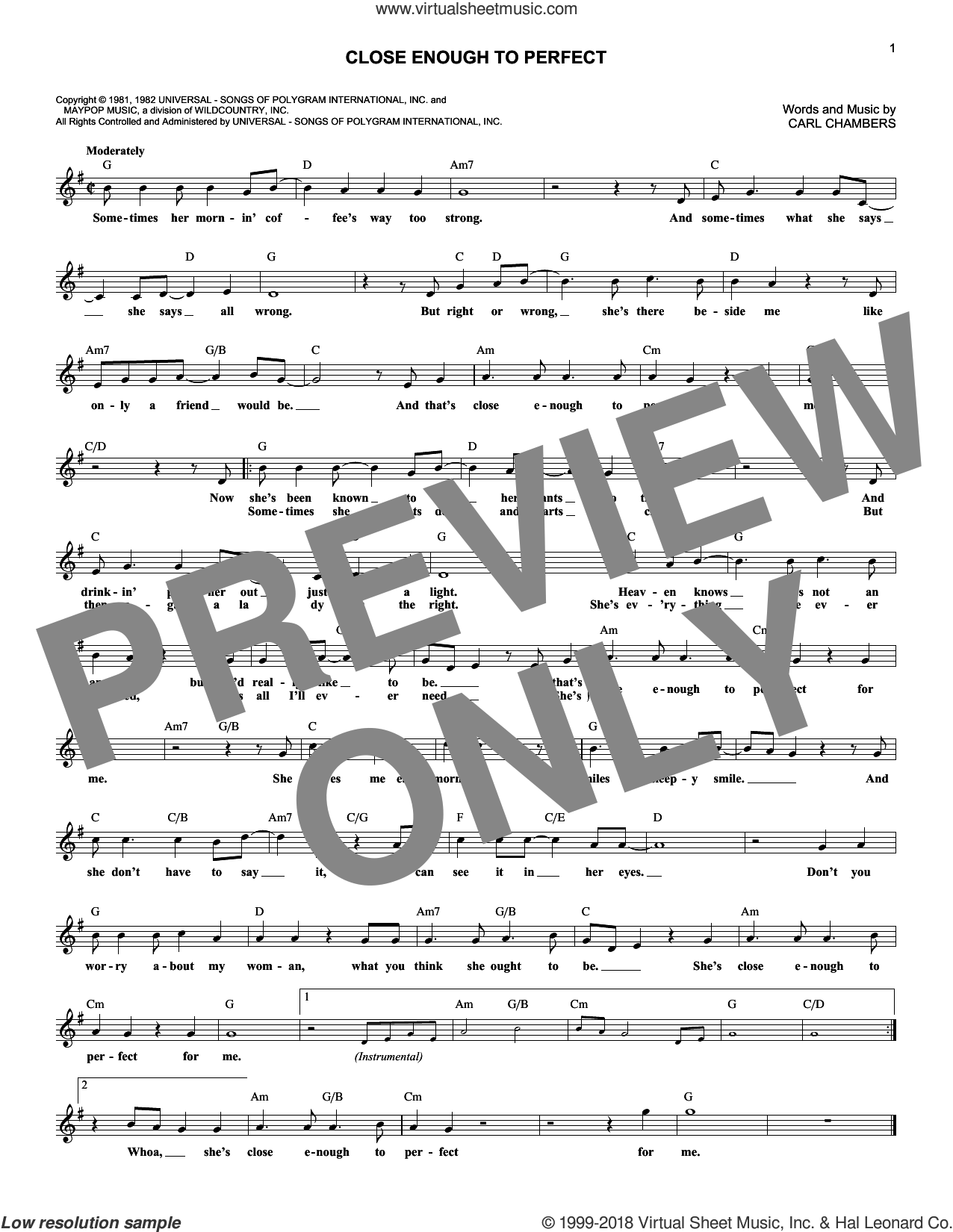 Close Enough To Perfect sheet music for voice and other instruments (fake book) by Alabama. Score Image Preview.