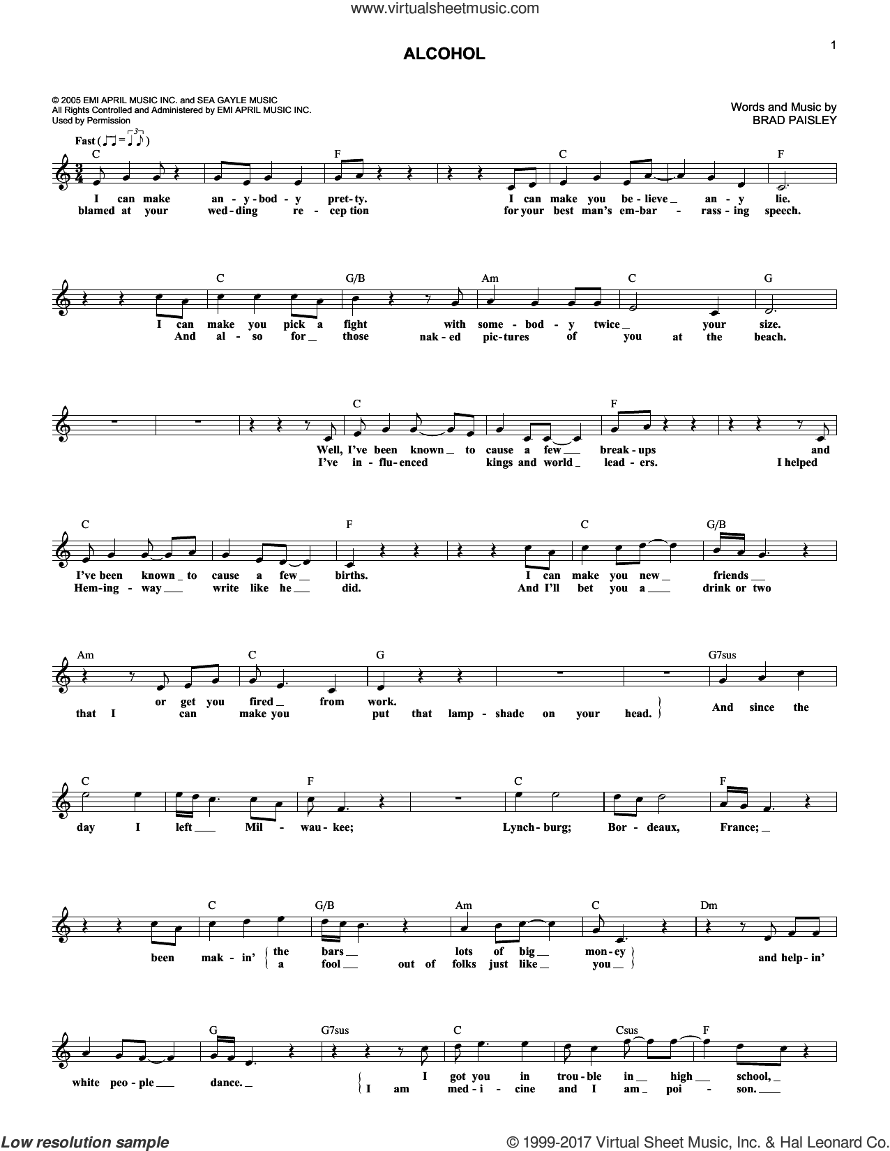 Alcohol sheet music for voice and other instruments (fake book) by Brad Paisley, intermediate