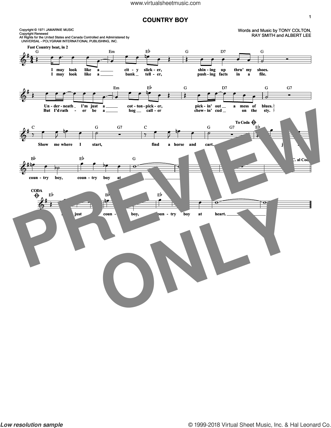 Country Boy sheet music for voice and other instruments (fake book) by Ricky Skaggs, Albert Lee and Tony Colton, intermediate voice. Score Image Preview.