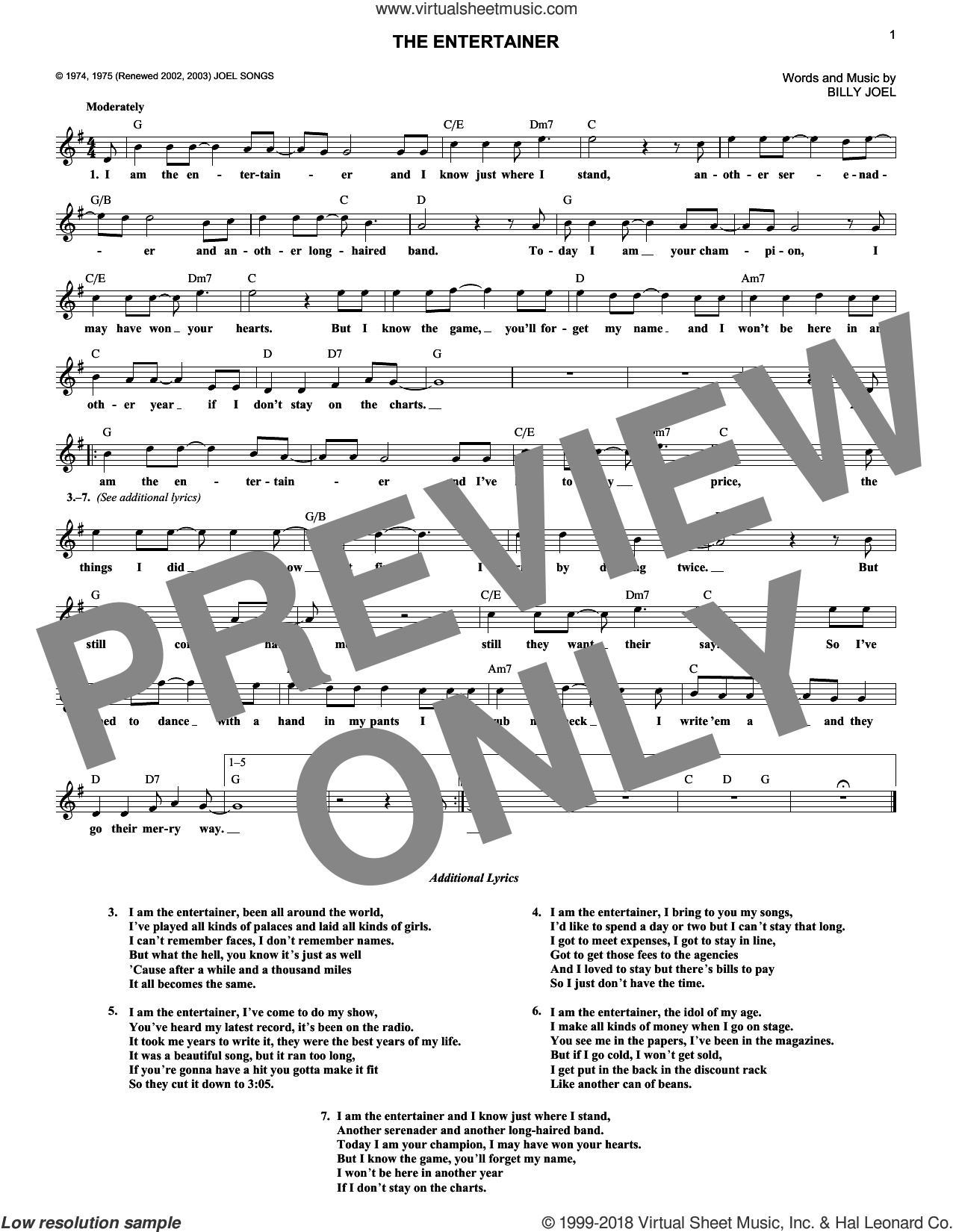 The Entertainer sheet music for voice and other instruments (fake book) by Billy Joel, intermediate. Score Image Preview.