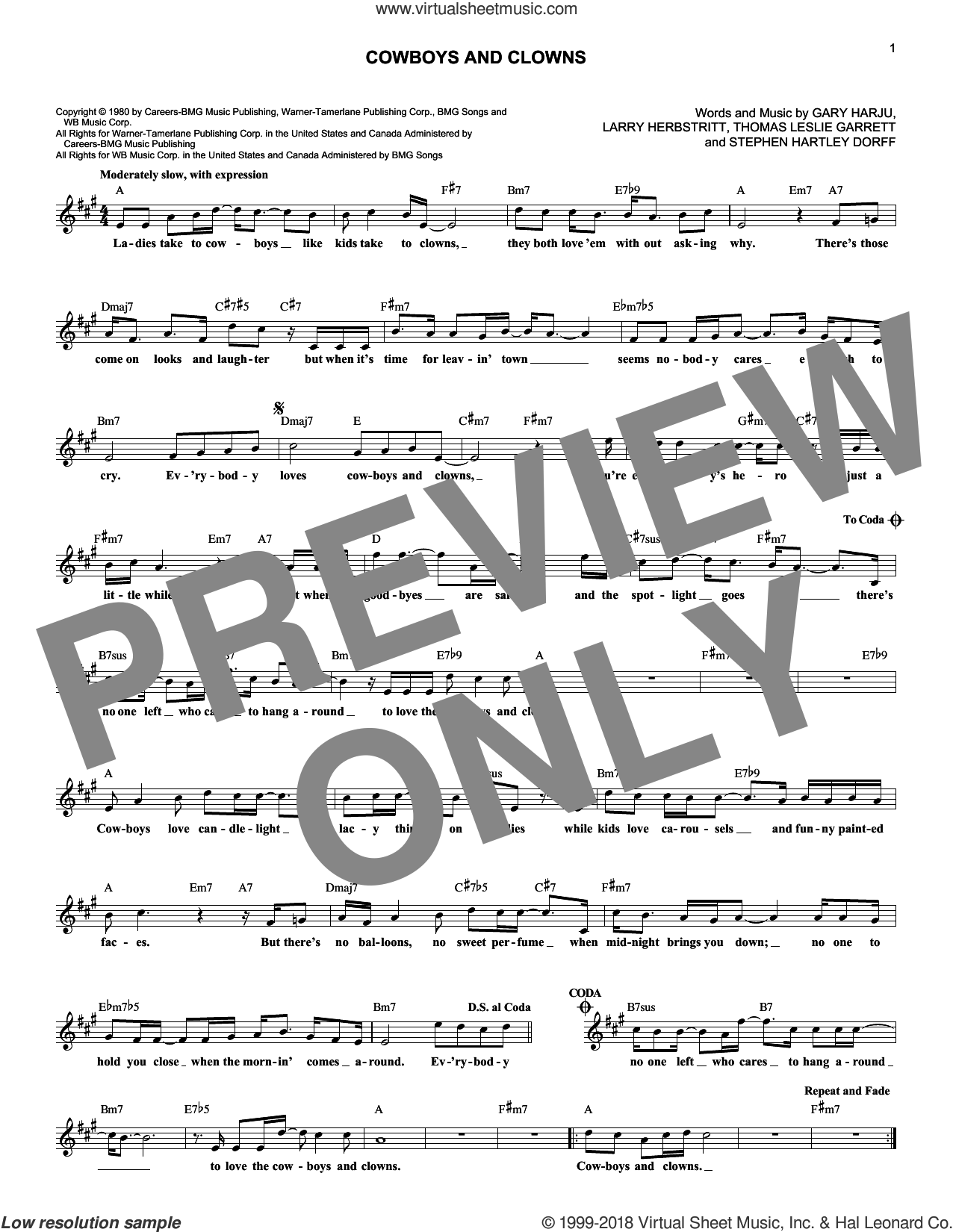 Cowboys And Clowns sheet music for voice and other instruments (fake book) by Ronnie Milsap, Gary Harju, Larry Herbstritt, Snuff Garrett and Steve Dorff, intermediate skill level
