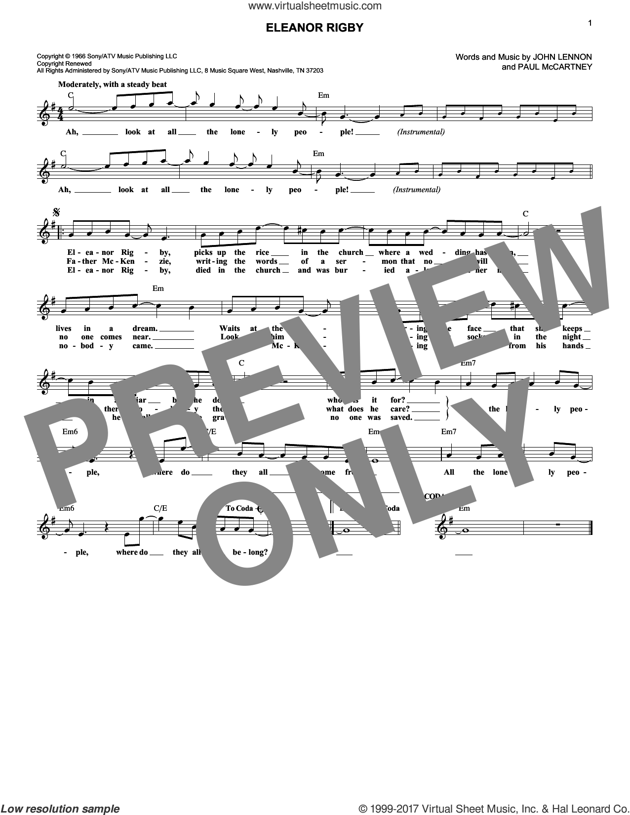 Eleanor Rigby sheet music for voice and other instruments (fake book) by The Beatles, John Lennon and Paul McCartney, intermediate skill level