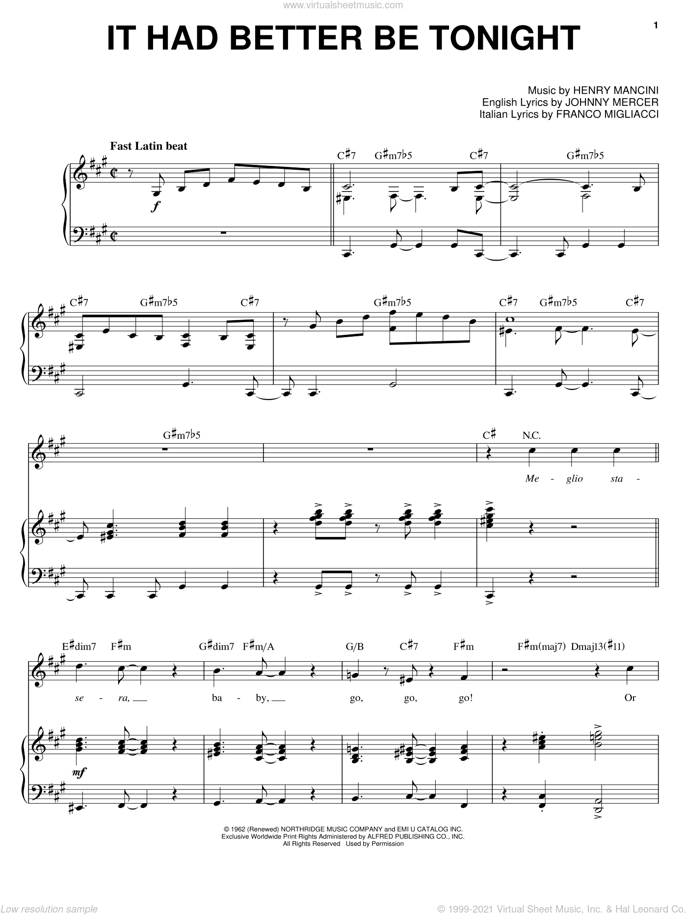 It Had Better Be Tonight sheet music for voice and piano by Michael Buble, Franco Migliacci, Henry Mancini and Johnny Mercer, intermediate skill level