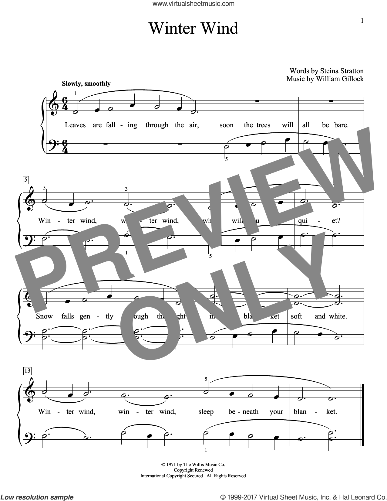 Winter Wind sheet music for piano solo (elementary) by William Gillock and Steina Stratton, beginner piano (elementary)