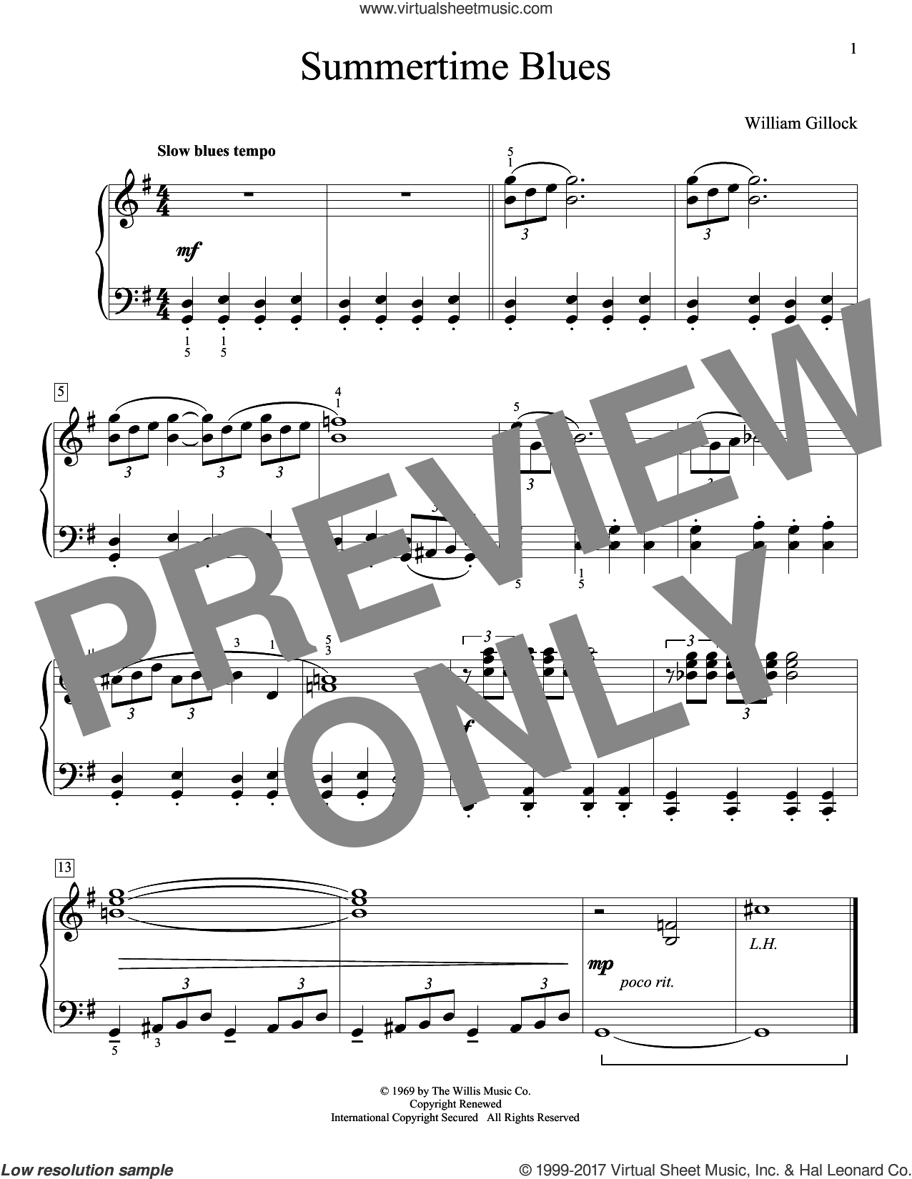 Summertime Blues sheet music for piano solo (elementary) by William Gillock, beginner piano (elementary)