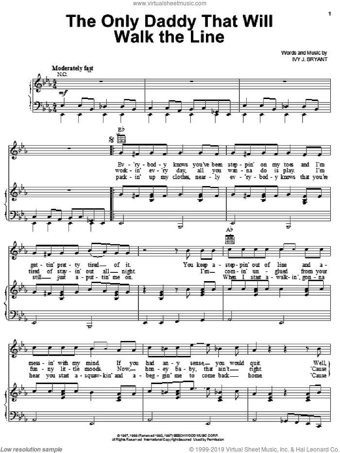 The Only Daddy That Will Walk The Line sheet music for voice, piano or guitar by Ivy J. Bryant and Waylon Jennings. Score Image Preview.