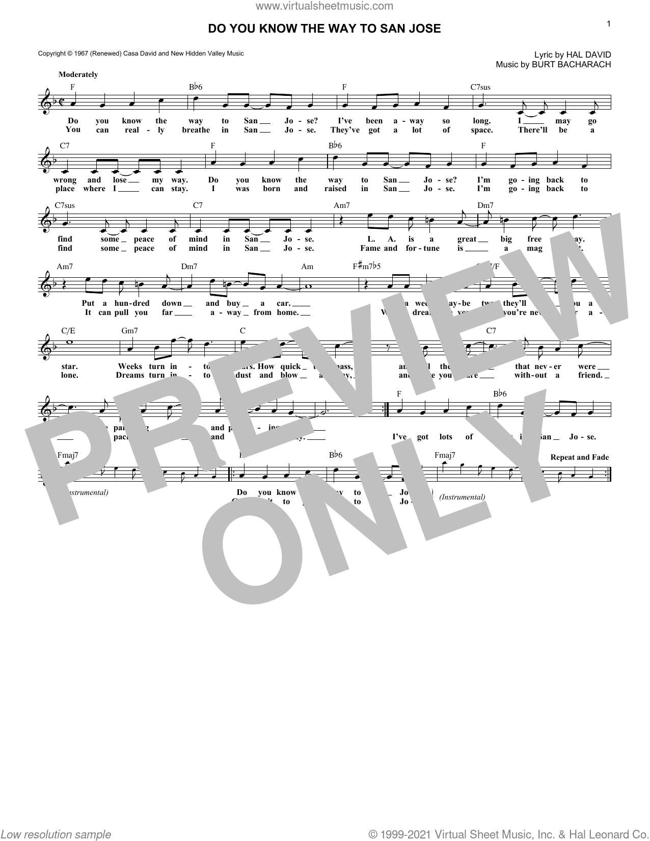 Do You Know The Way To San Jose sheet music for voice and other instruments (fake book) by Dionne Warwick, Burt Bacharach and Hal David, intermediate skill level