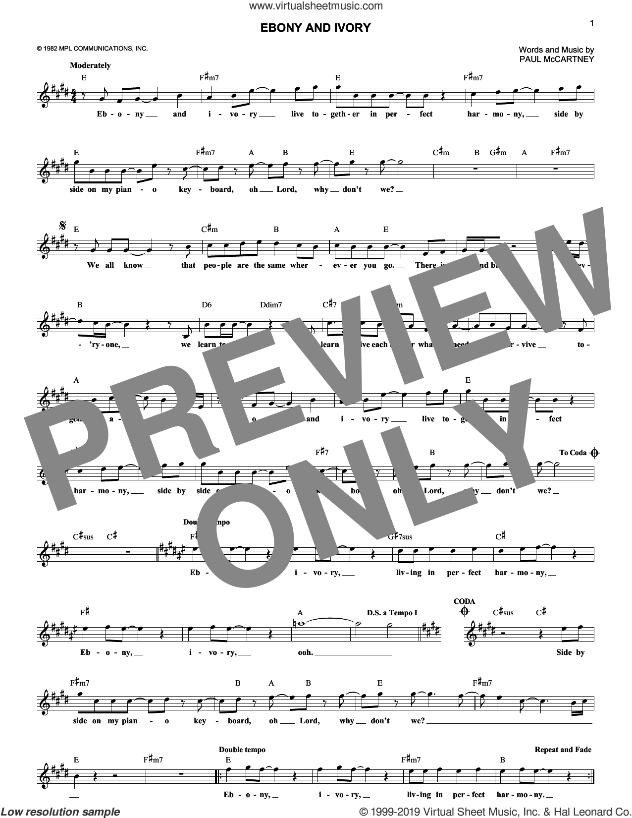 Ebony And Ivory sheet music for voice and other instruments (fake book) by Paul McCartney and Paul McCartney and Stevie Wonder, intermediate skill level