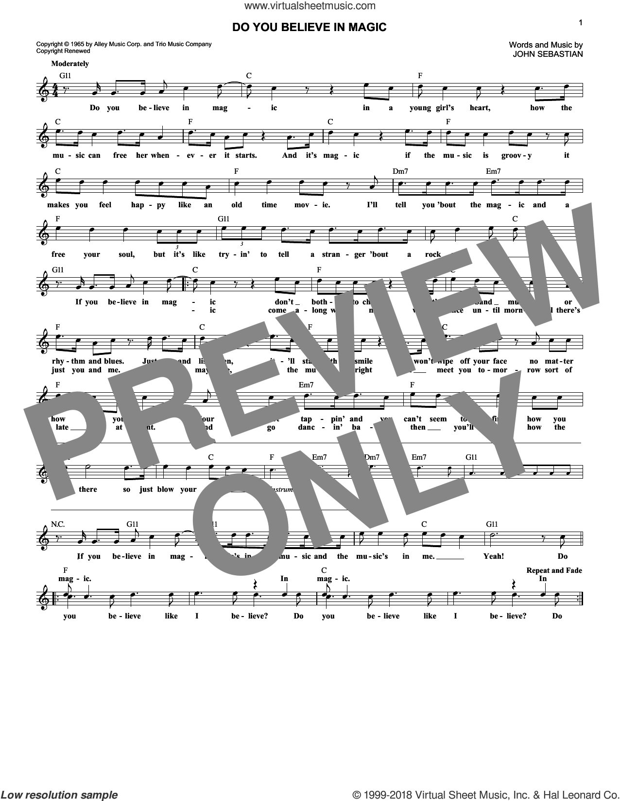 Do You Believe In Magic sheet music for voice and other instruments (fake book) by Lovin' Spoonful and John Sebastian, intermediate skill level