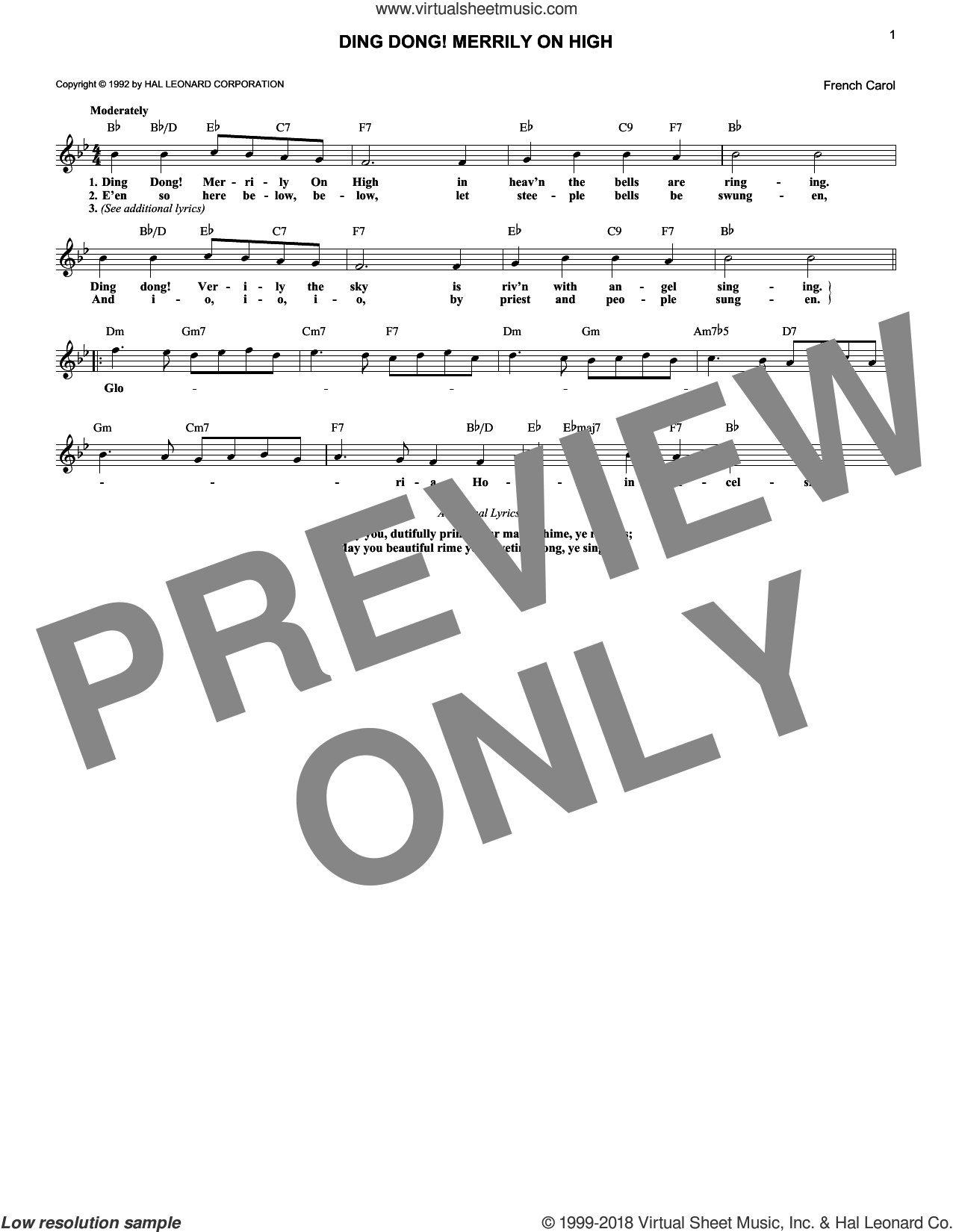 Ding Dong! Merrily On High! sheet music for voice and other instruments (fake book), intermediate